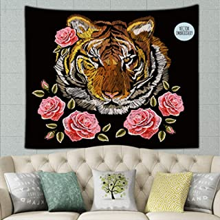 JANICEAI Embroidery Colorful Floral Roses Japanese Tiger Vintage Tapestry Wall Hanging for Room(51.2