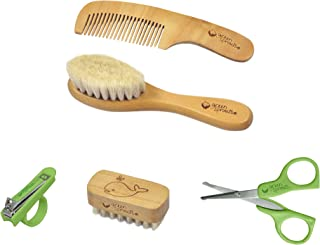 green sprouts Hair & Nail Care Set | Brush made of natural wood & soft bristles for comfort |Stainless steel scissors, cut...