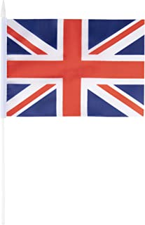 Juvale Union Jack Stick Flags - 72-Piece United Kingdom Hand-Held UK Flags on Stick with Spearhead Tip, 5.5 x 7.8 Inches