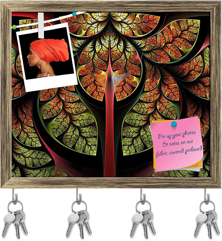 Artzfolio Fabulous Tree Key Holder Hooks   Notice Pin Board   Antique golden Frame 19 X 16Inch