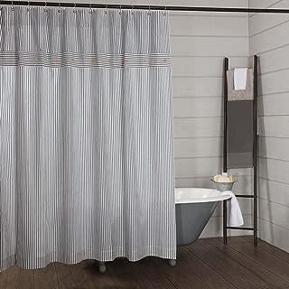Piper Classics Farmhouse Ticking Stripe Shower Curtain, 72x72, Blue