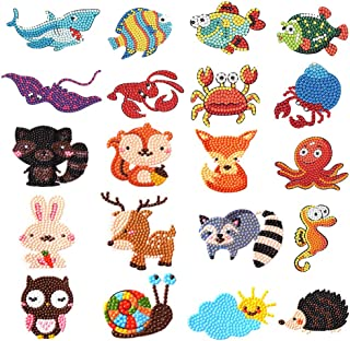 20 PCS 5D DIY Diamond Painting Stickers Kits, Small Art Craft Diamond Painting Kits Paint by Numbers Easy for Kids and Adult Beginners Cute Animals & Sea World
