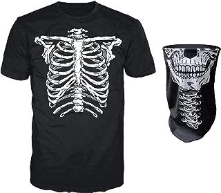 Glow in The Dark Skeleton T-Shirt with Matching Face Skull Mask Bandana Balaclava Halloween Costume for Men