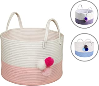 Solaya Short Pink Cotton Rope Basket Storage 16