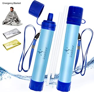 ioutdoor 2 Pack Water Filter Straw with Free Emergency Blankets,Portable Lightweight Personal Water Purifier Survival Filtration Gear for Hiking Camping Fishing Hunting Backpacking Travel