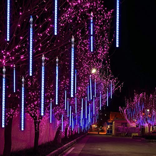 TianNorth Upgraded 50cm 8 Tubes 432 LED Meteor Shower Lights,8 Ultra Bright LED Waterproof cicle Raindrop Lights 19.68 inches Tubes for Christmas,Tree,Wedding, Party,Yard,etc (Blue)