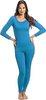 ملابس داخلية من قطعتين حراريتين وفائقتي النعومة للنساء من روكي - بلوزة وسروال داخلي مبطنان بالصوف تيل Large