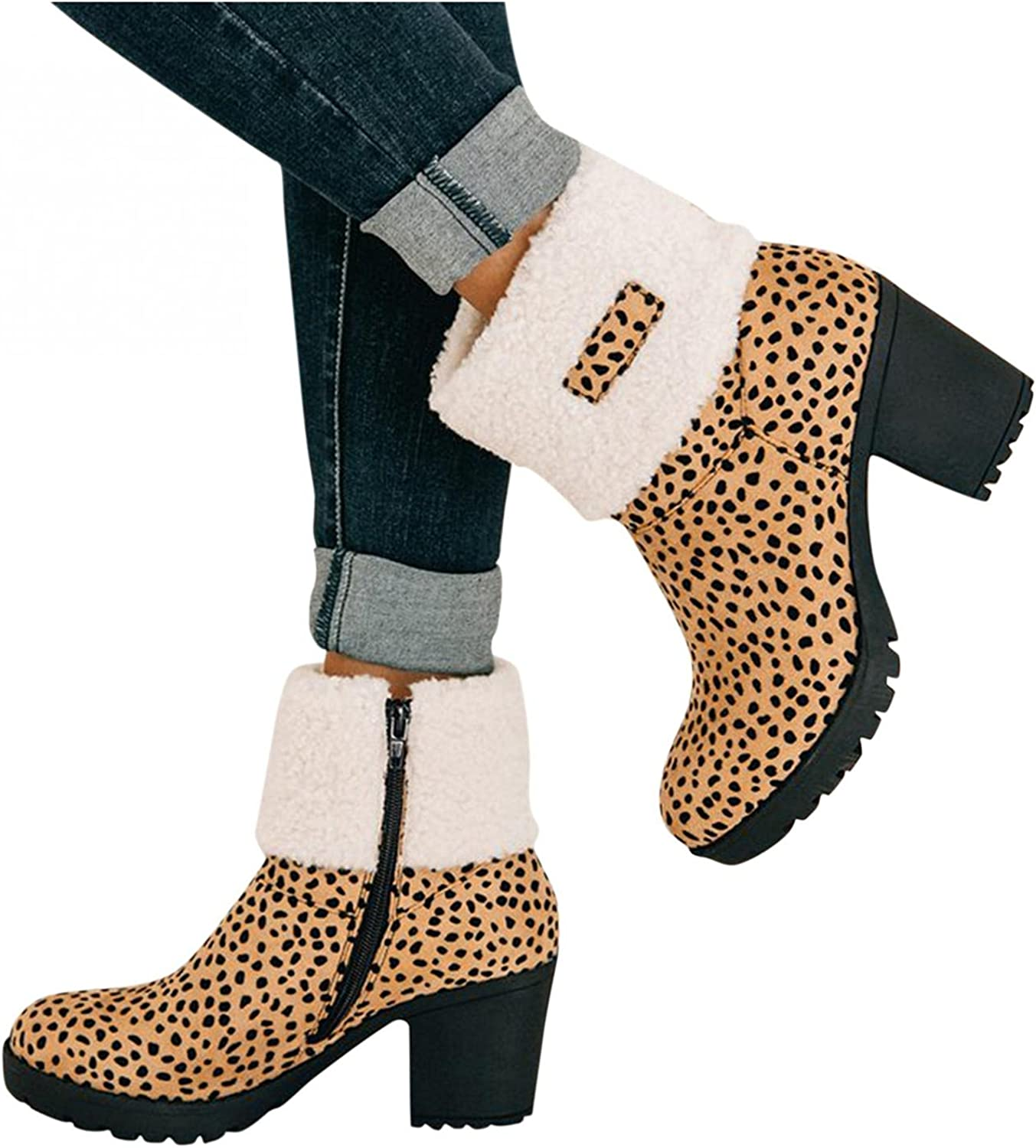 Hbeylia Dress Platform Ankle Booties For Women Ladies Fashion Dressy Pump Winter Snow Boots With Flip Fleece Lining Casual Anti Skid Chunky Block High Heels Mid Calf Short Dress Boots With Side Zipper