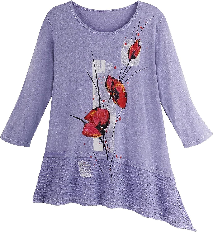 JESS & JANE Women's Floral Tunic Top, 3/4 Sleeve Asymmetrical Hem, Periwinkle