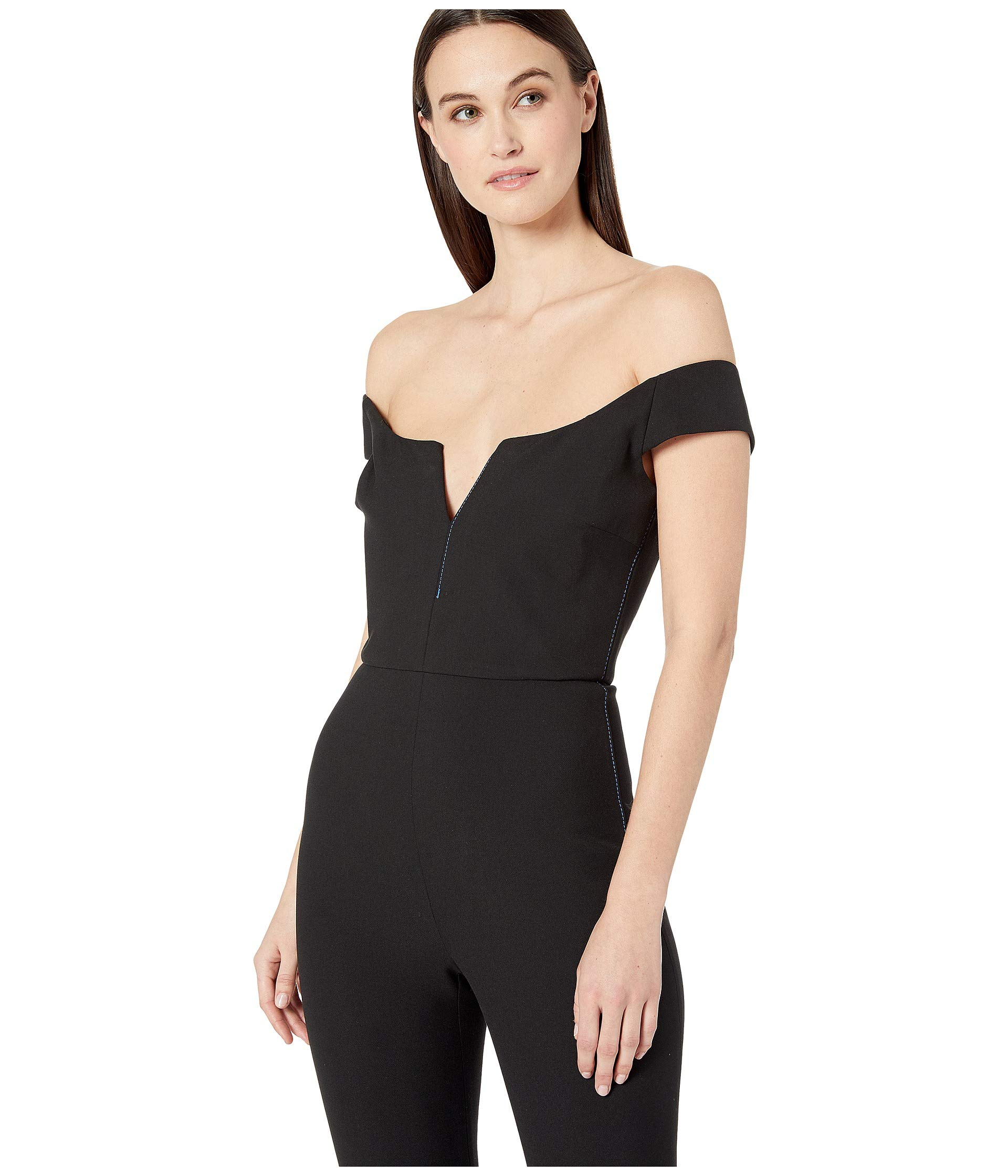 ac723eb8cc2 Cushnie Off the Shoulder Fitted Jumpsuit with Topstitching at  Luxury.Zappos.com