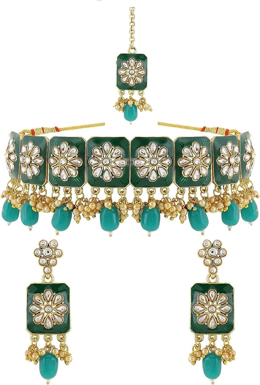Efulgenz Indian Jewelry Choker Save money Necklace Maang Earrings Tikka Los Angeles Mall Bol