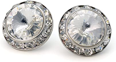 PammyJ Clear 20mm Crystal Framed Post Earrings