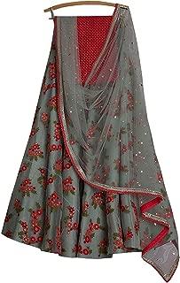REKHA Ethinc Shop Embroidered Work Indian Bollywood Designer Lehenga Choli Ethnic Look Women Semi-Stitched Lehenga Choli A315 Gray