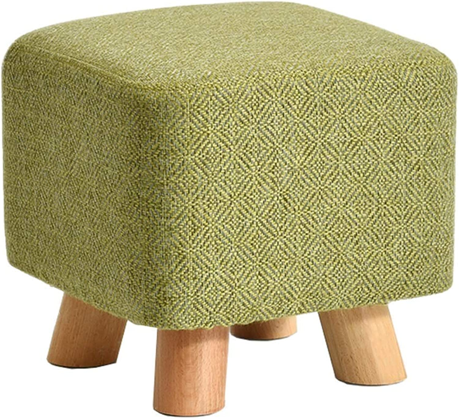 Green Footstool Home Solid Wood Square Padded Footstools to Increase Stools to Change shoes Small Bench 4 Legs Non-Slip Feet (29 × 29 × 25CM)