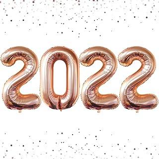 مجموعة بالونات من الذهب الوردي 2021 لديكور التخرج - كبير، 40 بوصة | بالونات من الذهب الوردي لزينة حفلات التخرج 2021 | 2021...
