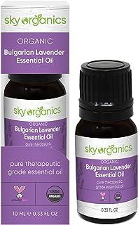 USDA Organic Bulgarian Lavender Essential Oil by Sky Organics (0.33oz) Pure Therapeutic Grade Essential Oil for Diffuser a...