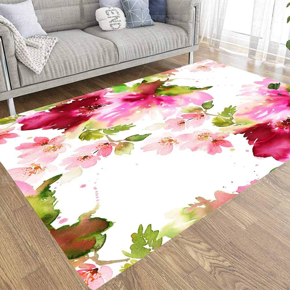 Pamime New item Sacramento Mall Soft Area Rug Modern Watercolor Pattern Summer F