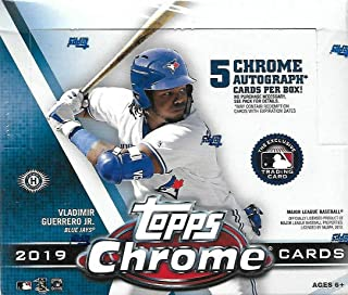 2019 Topps Chrome MLB Baseball JUMBO box (12 pks/bx, FIVE Autograph cards)