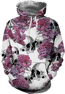 Amiley Unisex 3D Skull Print Hooded Sweatshirt Casual Pullover Hoodie with Kangaroo Pockets