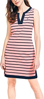 Nautica womens Breton Stripes Sleeveless V-Neck Stretch Cotton Polo Dress Casual Dress
