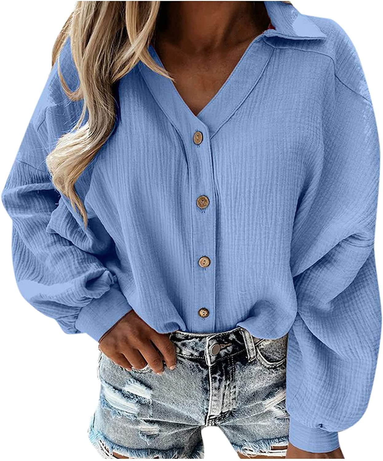 Sweatshirt Women Trendy Button Down Pullover Long Sleeve Sexy V Neck Oversized Graphic Sweatshirts for Women Plus Size
