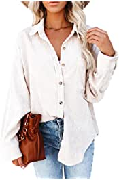 Womens Corduroy Shirts Casual Long Sleeve Button Down Blouses Tops