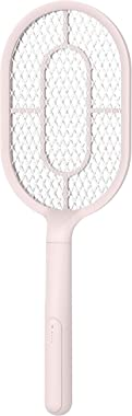 HUNTINGOOD Bug Zapper Racket/Fly Swatter/Electric Mosquito Killer with Fast USB Charging,Bright LED Lighting,Separable Fixed Base and 3 Layer Safety Grid,for Indoor and Outdoor Pest Control (Pink-L)