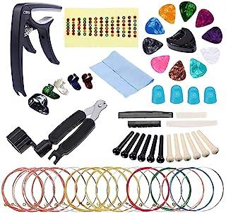 Guitar Accessories Kit Tool Set Replacement Including Guitar Capo, Picks, Acoustic Guitar Strings, String Winder, Bridge P...