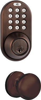 MiLocks TFK-02OB Digital Deadbolt Door Lock and Passage Lever Handle Combo with Keyless Entry via Keypad Code for Exterior Doors, Oil Rubbed Bronze