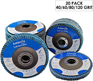amoolo 20 Pack Flap Disc, T29 Zirconia Angle Grinder Sanding Disc, 4-1/2 x 7/8 inch, 40/60/80/120 Grit Abrasive Grinding Wheel