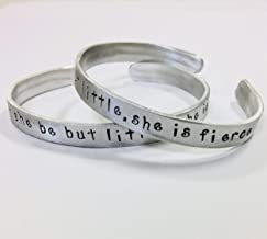 Though she be but little, she is fierce, Shakespeare quote handstamped cuff bracelet