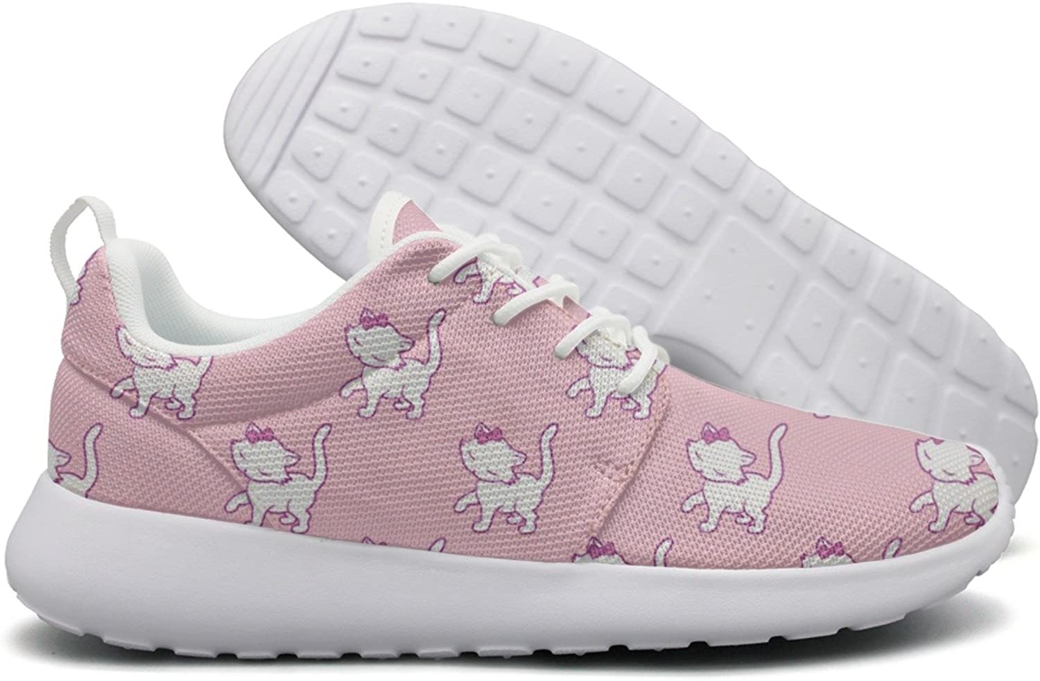 Hoohle Sports Cute Kitten Cat Pink Background Womens Roshe One Flex Mesh Men Running shoes