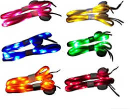 Jofan 6 Pairs Nylon LED Shoelaces Light Up Shoe Laces with 3 Modes in 6 Colors for Disco Flash Lighting The Night Party Hip-hop Dancing Cycling Hiking Skating