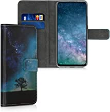 kwmobile Wallet Case Compatible with Huawei Nova 5T - PU Leather Flip Cover with Card Slots and Stand - Cosmic Nature Blue...