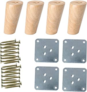 uxcell 4 Inch Solid Wood Furniture Legs Sofa Couch Table Desk Closet Cabinet Feet Adjuster Replacement Set of 4
