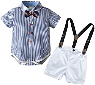 بدلة أطفال للأولاد من كارلستار طقم سراويل قصيرة للأطفال الرضع بأكمام قصيرة رومبير + بنطلون حمال+ربطة عنق 4 قطع
