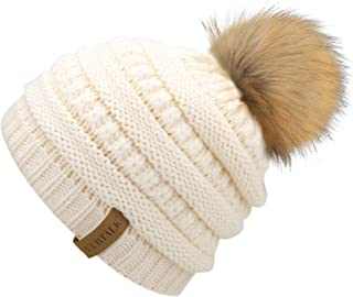 0abf874d329 FURTALK Kids Girls Boys Winter Knit Beanie Hats Faux Fur Pom Pom Hat Bobble  Ski Cap