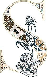 一文字からの S Stained Glass Alphabet 植物 花 ステンドグラス レトロ Mサイズ 5cm×5cm 一文字からの ステッカー mojis-glasf0Ms-ds