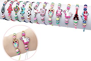 Elesa Miracle 12Pc Women Girl Unicorn Owl Woven Friendship Value Set Kids Party Favor Adjustable Bracelet, One Size, Multicolor