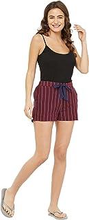 Mystere Paris Classic Striped Lounge Shorts Loungewear Casual Rayon Plum White Shorts F435B