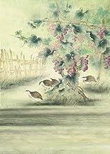 A.Monamour 1.5X2.1M Tela Vinilo Foto Fondos Pintura China Cuadro Uvas Vine Tallo Pájaros Naturaleza Paisaje Mural
