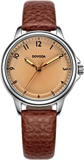 DOVODA Ladies Watches Quartz Fashion Brown Leather Strap Dress Watch for Women