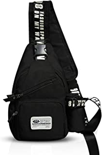 FANDARE Mode Sling Bag Rucksack Umhängetasche Brusttasche Messenger Bag Schultertasche Hiking Bag Daypack Crossbody Bag Chest Pack Sports Reisetasche Wasserdicht Polyester Schwarz