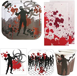 Blue Orchards Zombie Deluxe Party Packs (70 Pieces for 16 Guests!), Zombie Party Supplies, Halloween Party Packs