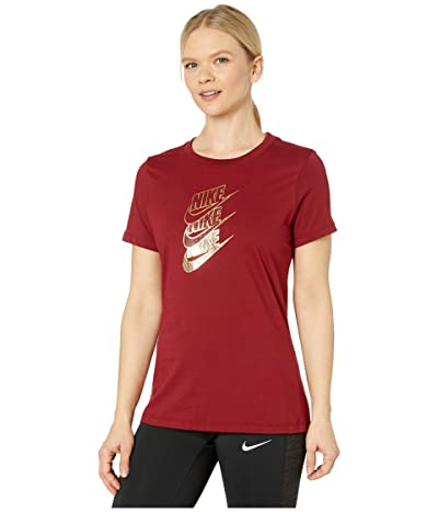 Nike NSW Tee Statement Shine (Team Red/Metallic Gold) Women