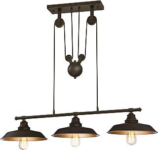 Westinghouse Lighting Lampa wahadłowa z linką do kuchni wyspy, wersja olejowany brąz z akcentami, szkło, 1 W, 102 x 102 x ...