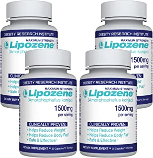 Lipozene Diet Pills - Weight Loss Supplement - Appetite Suppressant and Control - 4 Bottles 120 Capsules - No Stimulants N...