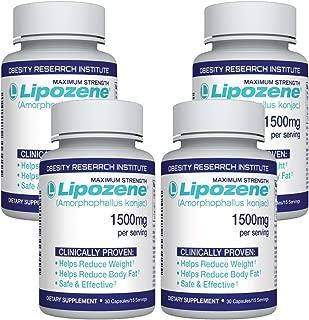 Lipozene Diet Pills - Weight Loss Supplement - Appetite Suppressant and Control - 4 Bottles 120 Capsules - No Stimulants No Jitters