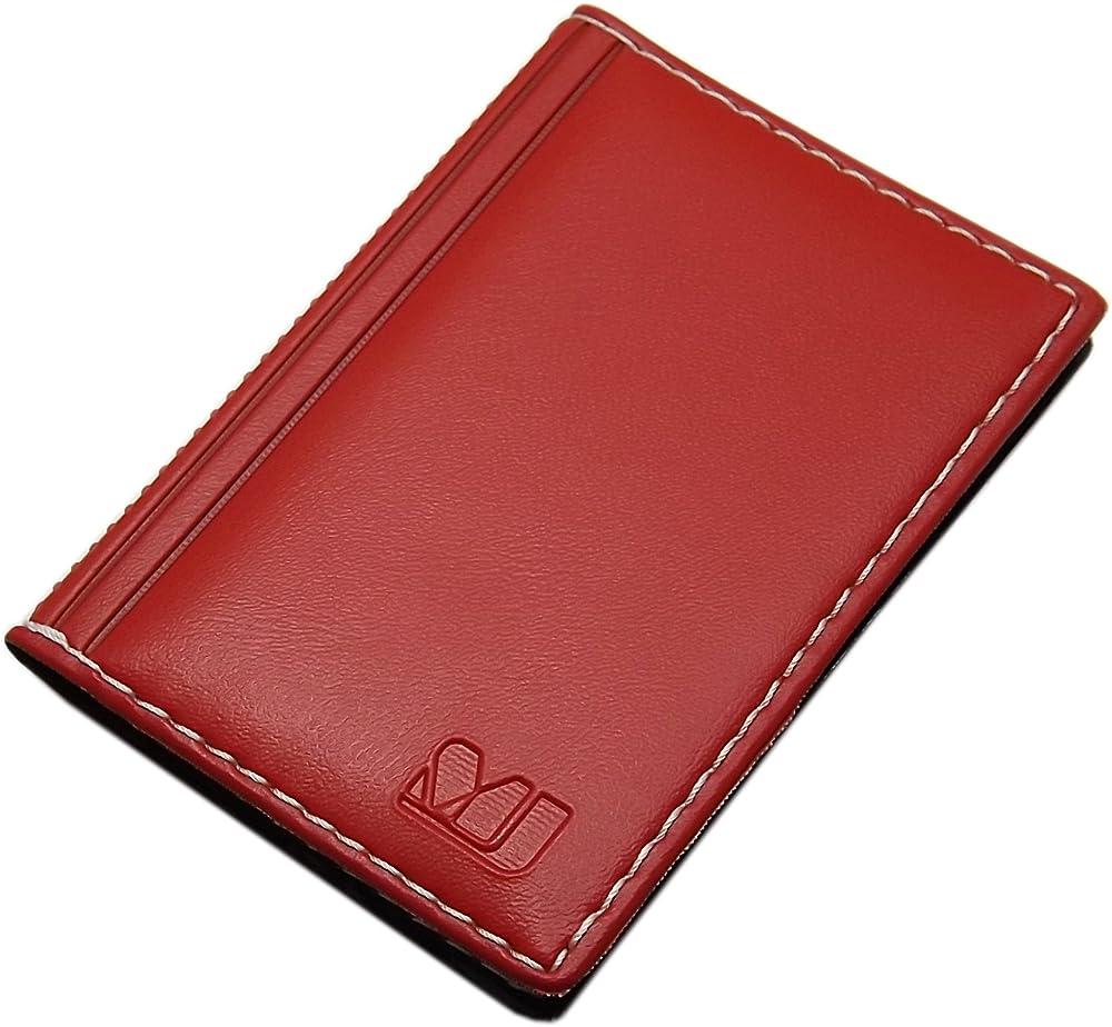 Myledershop, elegante custodia per carte di credito e biglietti da visita, 12 scomparti, in vera pelle, rosso1