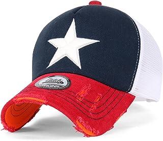 ililily Star Embroidery tri-Tone Trucker Hat Adjustable Cotton Baseball Cap